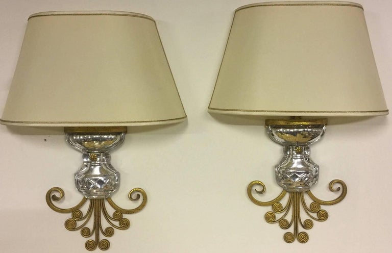 Very Unusual Maison Baguès Wall Scones Gilded Metal and Crystal In Excellent Condition For Sale In Munich, DE