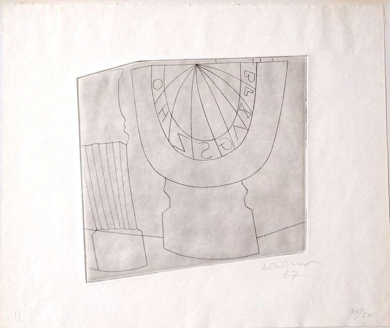 Ben Nicholson (1894-1982) UK   Original etching 1967, signed, dated 1967, numbered 35/50 in pencil by hand. The paper bears the dry stamp (chopmark) of the printer François Lafranca, Lugano.  Motiv: Turkish Sundial and Column, 1967  Number 35