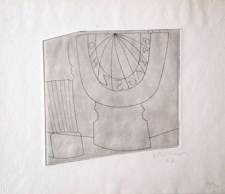Mid-Century Modern Ben Nicholson Turkish Sundial and Column, 1967 35/50, Etching For Sale