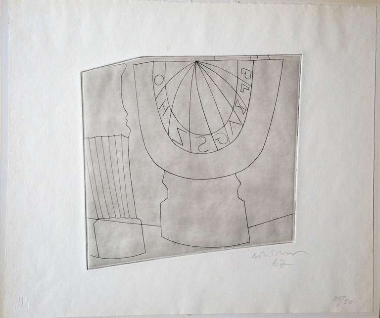 Paper Ben Nicholson Turkish Sundial and Column, 1967 35/50, Etching For Sale