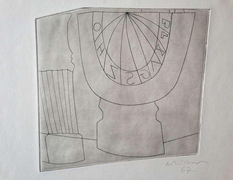 Ben Nicholson Turkish Sundial and Column, 1967 35/50, Etching For Sale 1