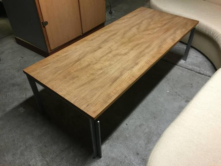 matt chromed iron base with EKC press mark. original light teakwood top with amazing grain.