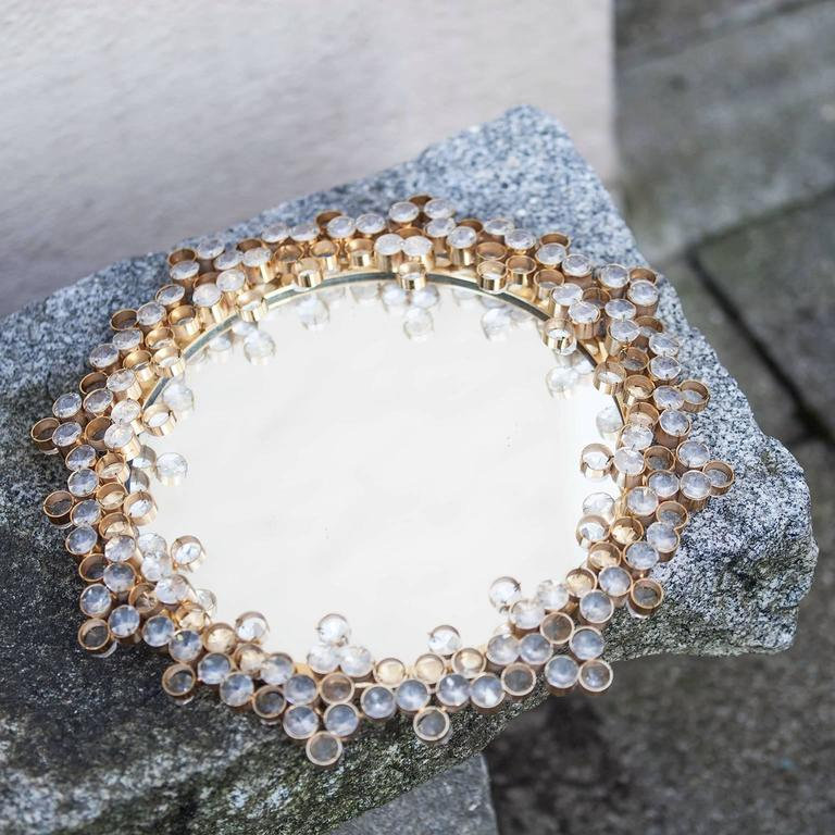 Round Mirror Surrounded In Crystals And Gold Austria 1965 Plate Swarovski