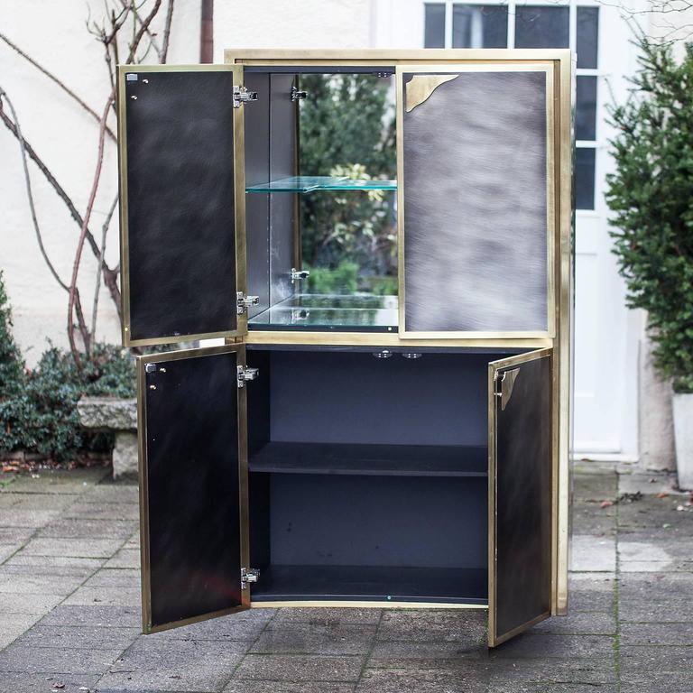 Etched Bicolor Bar Cabinet Maison Jansen For Sale