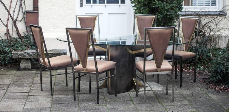 Set of dining table and six chairs attributed to Maison Jansen, France, 1970. Brass and etched brass, very high quality. Measures: Table: H 74 x L 200 x W 110 cm, chairs: SH 48 x H 99.5 x W 45 x D 50 cm.