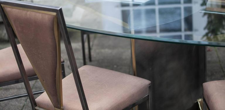 Etched Set of Bicolor Dining Table and Six Chairs Attributed to Maison Jansen For Sale
