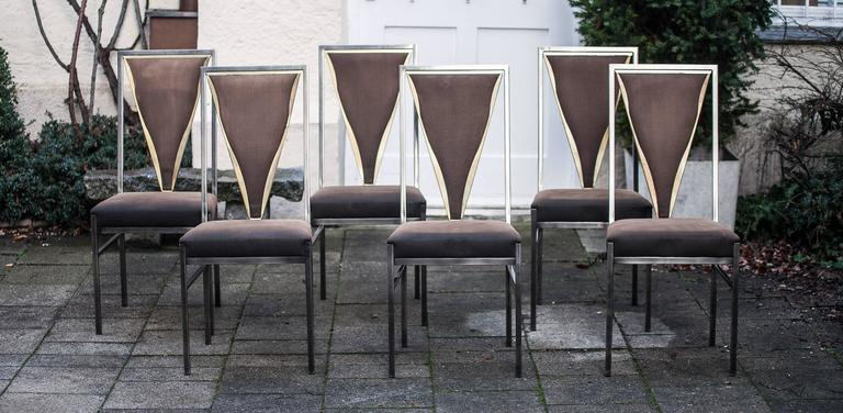 Mid-Century Modern Set of Bicolor Dining Table and Six Chairs Attributed to Maison Jansen For Sale