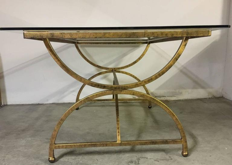 French Gilded Metal Dining Table With Glass Top At 1stdibs