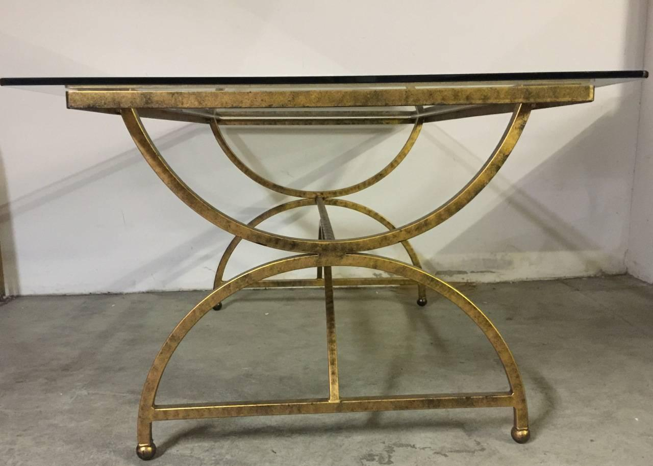 french gilded metal dining table with glass top at 1stdibs. Black Bedroom Furniture Sets. Home Design Ideas