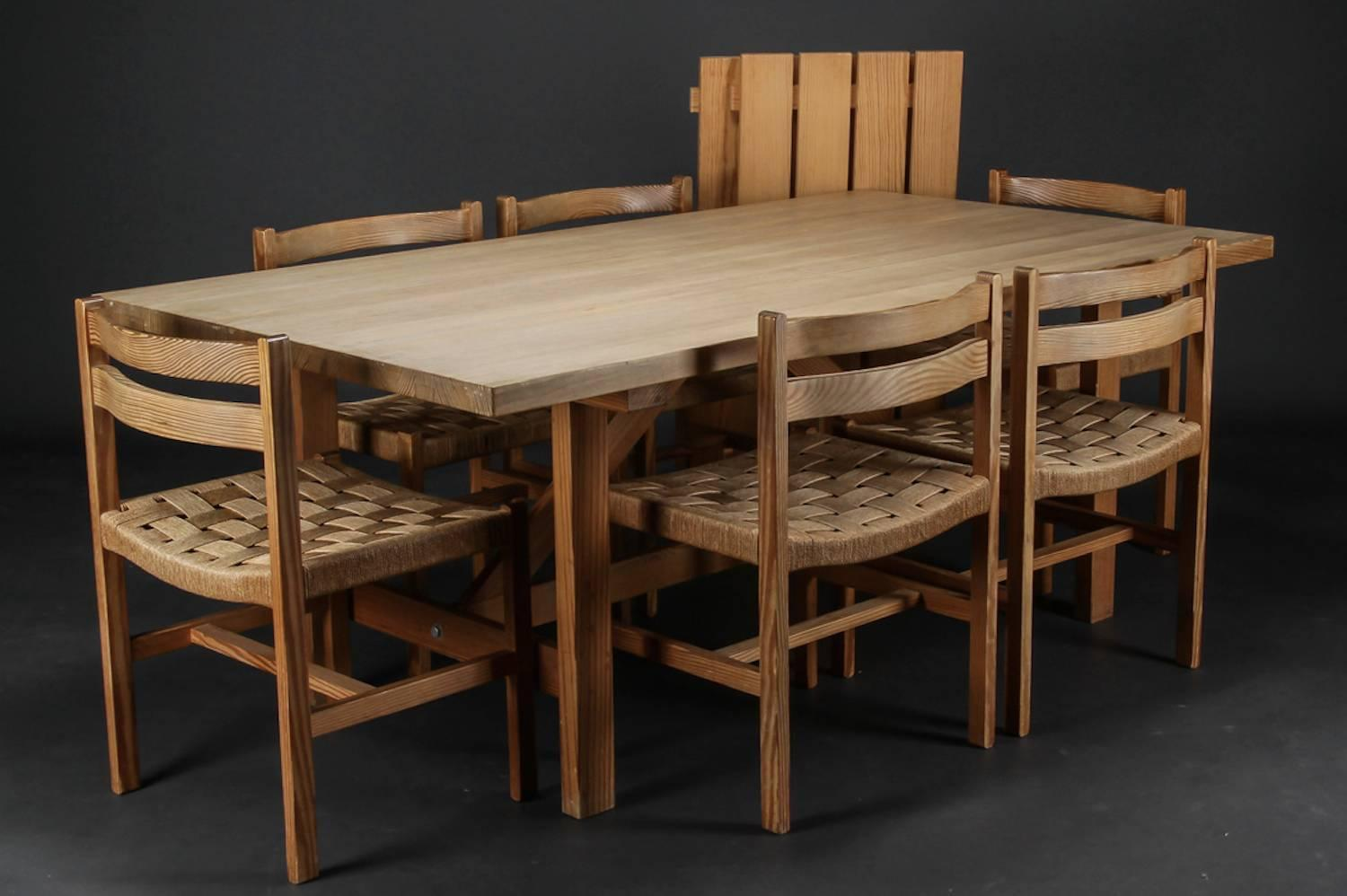Set of six massive oregon pine dining chairs with paper