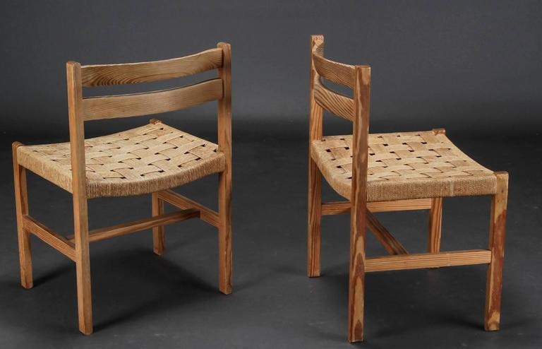 Mid-Century Modern Set of Six Massive Oregon Pine Dining Chairs with Paper Cord For Sale