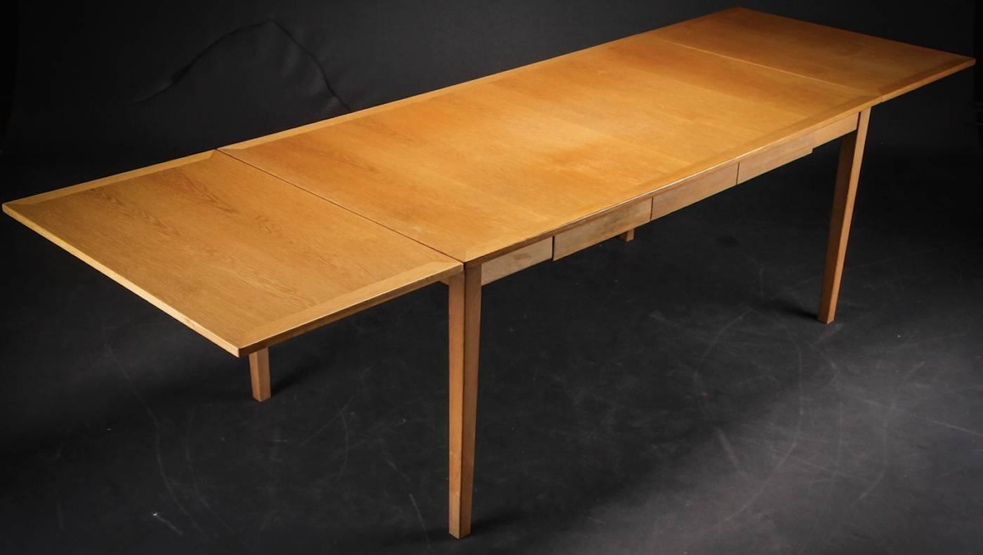Danish Oak Desk Or Dining Table With Drawers And Leaves At 1stdibs. Full resolution‎  photo, nominally Width 1400 Height 791 pixels, photo with #C68005.