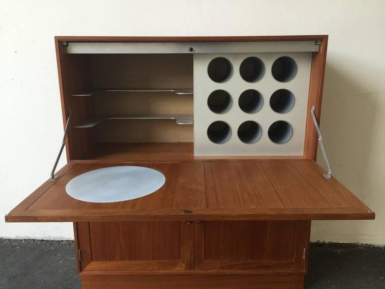 Mid-Century Modern Space Age Meets Tradition Bar Cabinet from Denmark For Sale