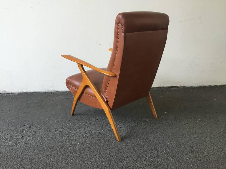 Faux Leather Rare Italian Lounge Chair by Antonio Gorgone For Sale
