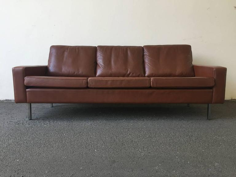 three seat sofa upholstered in leather at 1stdibs. Black Bedroom Furniture Sets. Home Design Ideas