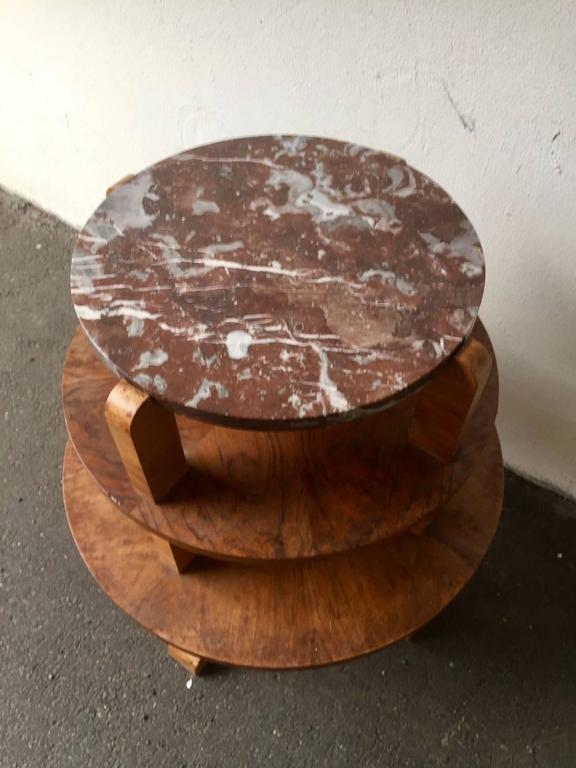 French Nice Art Deco Side Table with Beautiful Marble Top For Sale