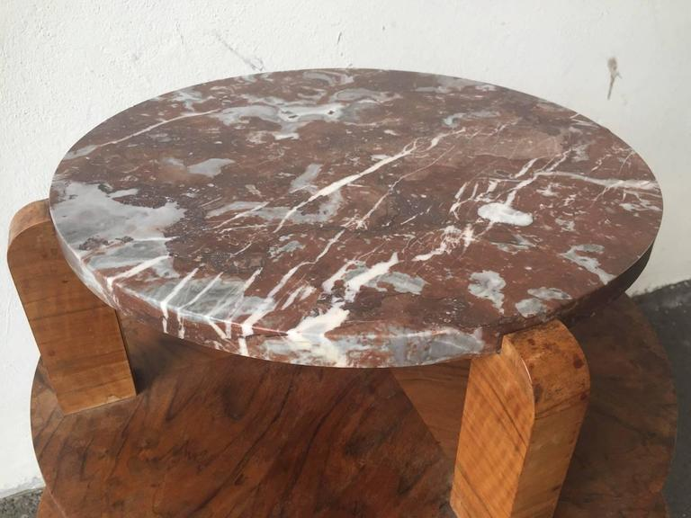 Early 20th Century Nice Art Deco Side Table with Beautiful Marble Top For Sale