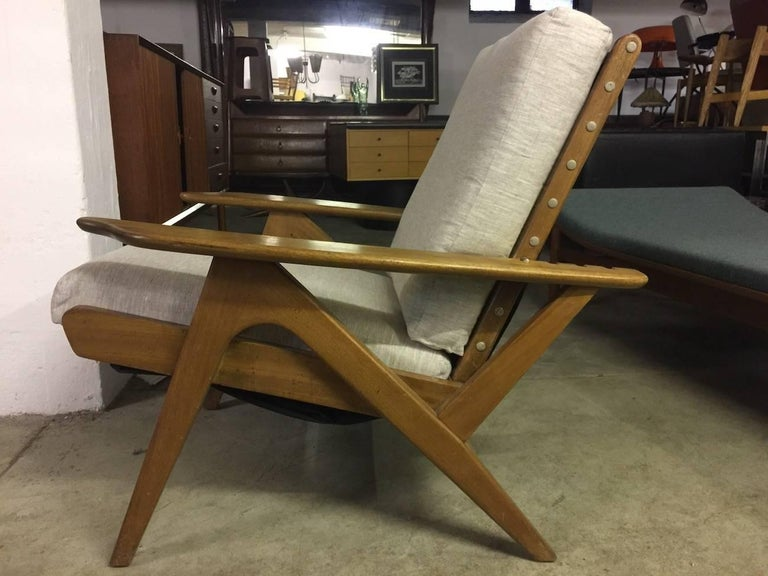 Italian Adjustable Lounge Chair in the Manner of Carlo Mollino, New Cushions For Sale 1