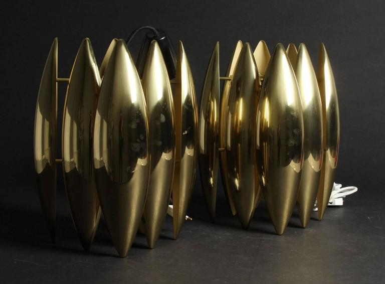 Pair of Brass Kastor Jo Hammerborg Pendants for Fog and Mørup, 1970 In Excellent Condition For Sale In Madrid, ES