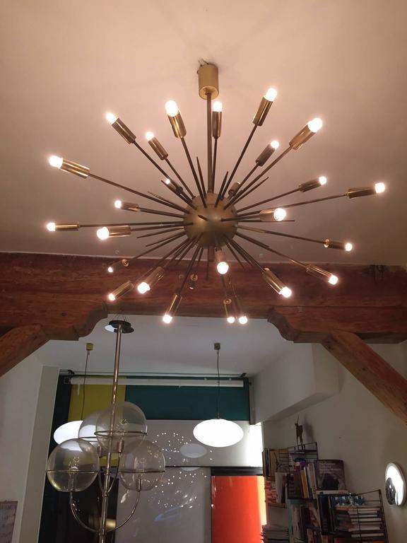 Brass Original Stilnovo Sputnik Chandelier