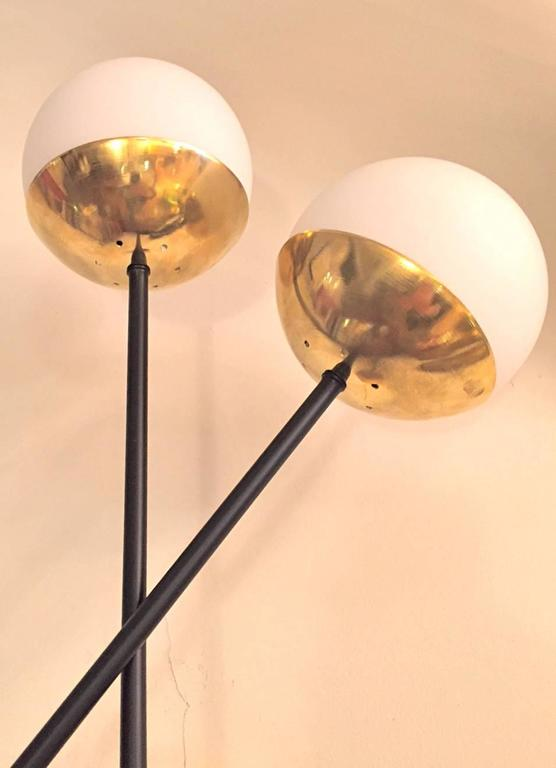 Mid-Century Modern Pair of Italian  Murano Glass and Brass Sconces For Sale