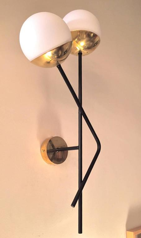 Pair of Italian  Murano Glass and Brass Sconces For Sale 4