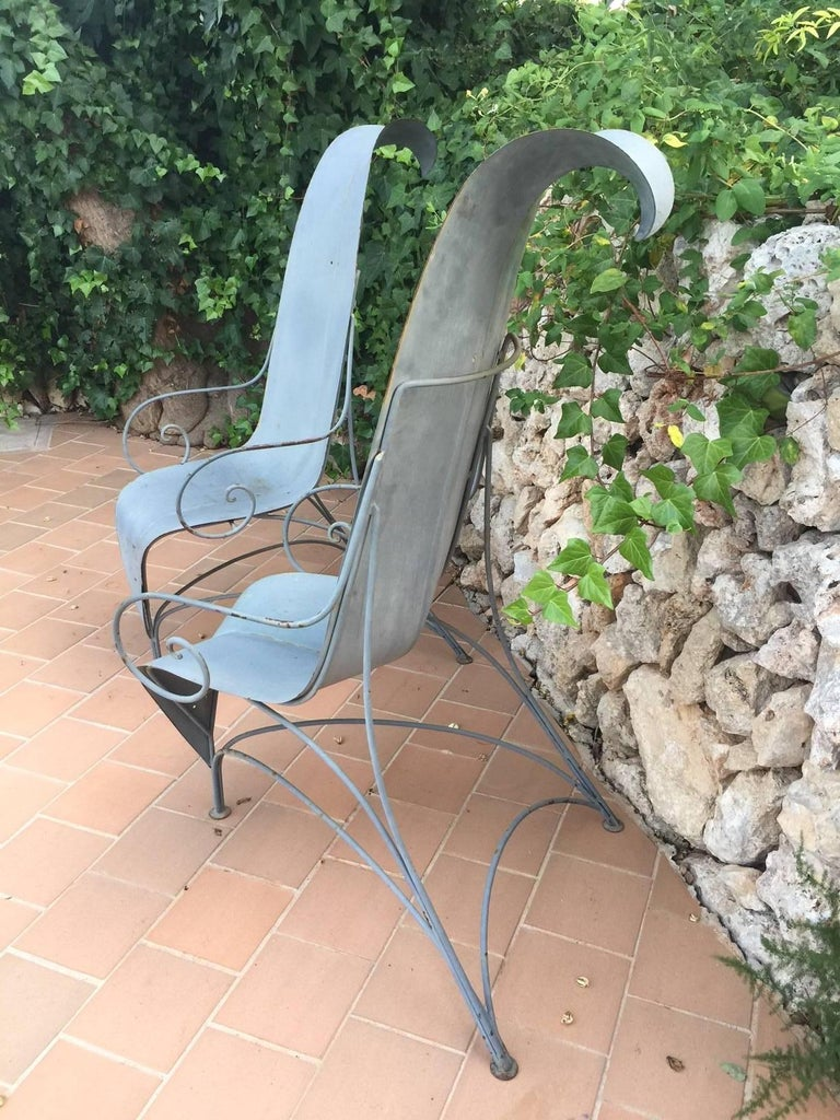 "Sheet Metal Pair of Fabrizio Corneli ""Leave"" Chairs, 1986 For Sale"