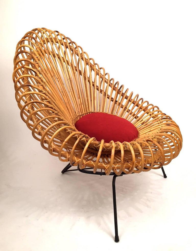 Mid-Century Modern Pair of Janine Abraham and Dirk Jan Rol Basketware Lounge Chairs For Sale