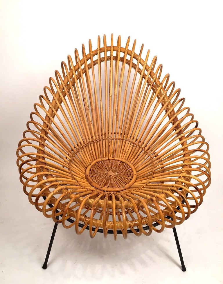 French Pair of Janine Abraham and Dirk Jan Rol Basketware Lounge Chairs For Sale