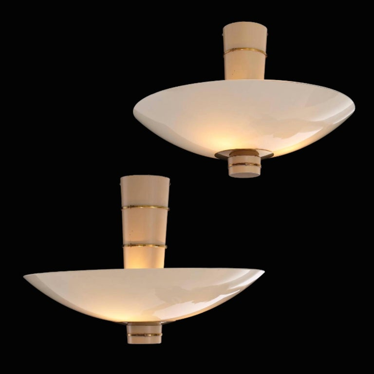 Finnish Paavo Tynell Pair of Ceiling Lamps Model 9055 for Taito Oy, 1940 For Sale