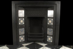 An Antique Aesthetic Movement Minton Tiled Register Grate, English 19th Century.