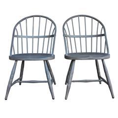 Pair of Raw Steel Windsor Chairs, circa 1920