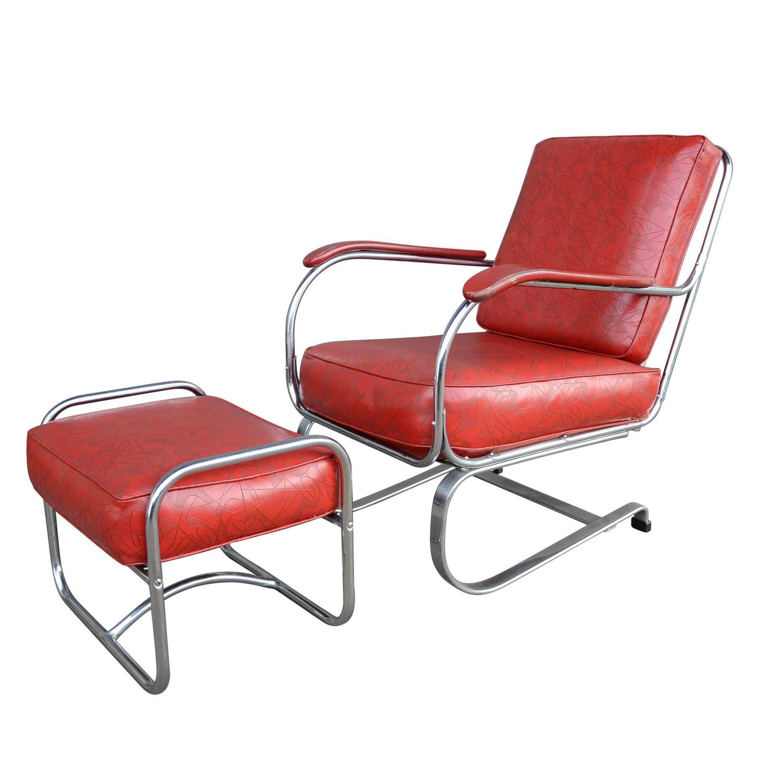 Incredible Red Vinyl Lounge Chair With Ottoman Circa 1940