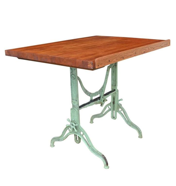 Large Cast Iron Drafting Table By C.F. Pease, Circa 1894 2