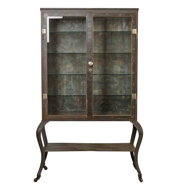 Enormous Steel And Glass Medical Cabinet With Cabriole Legs, Circa 1900