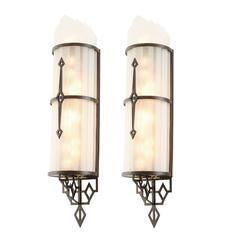 Pair of Twinkling Art Deco Theater Sconces, circa 1935