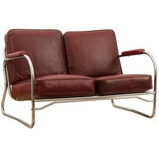 Barber Shop Loveseat with Red Vinyl Cushions, circa 1940s