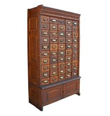 Enormous 50-Drawer Oak Hardware Cabinet, circa 1920