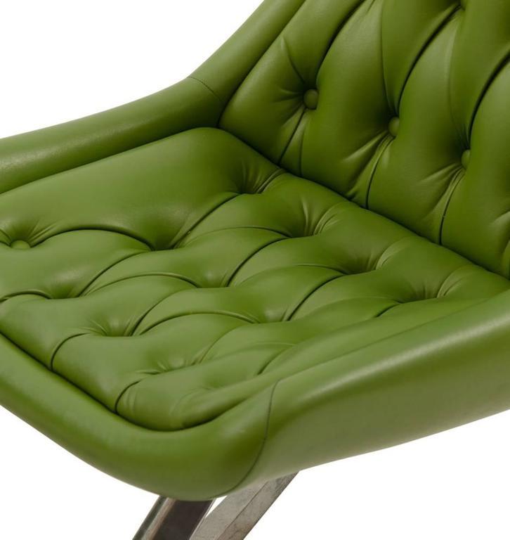 Pair of Mid-Century Avocado Green Chromcraft Chairs, circa 1960s 4