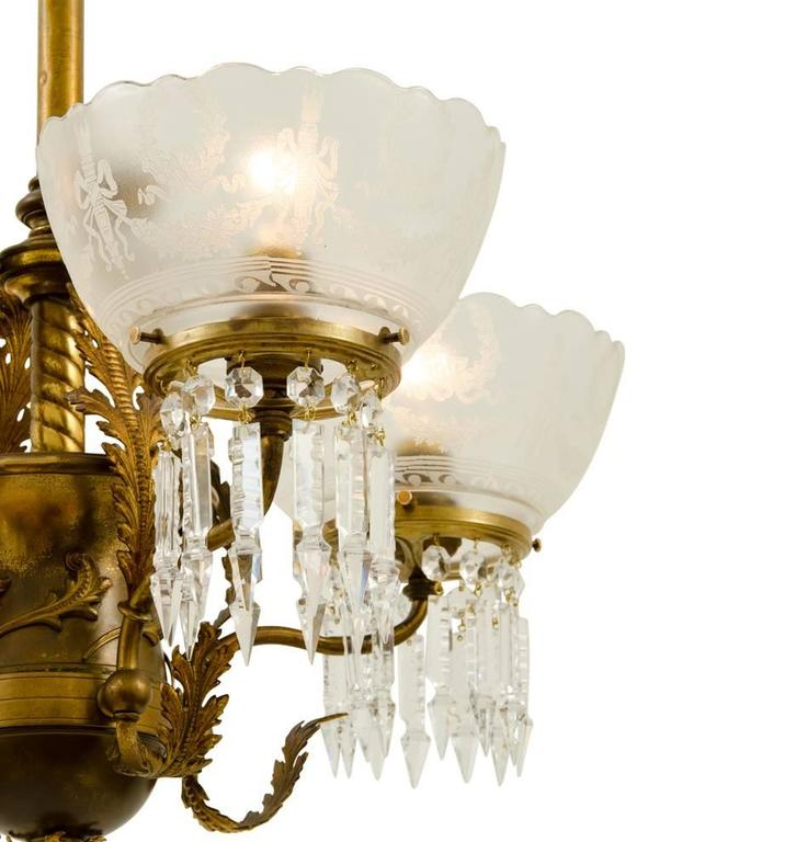 Remarkable Early Electric Empire Chandelier Circa 1890s