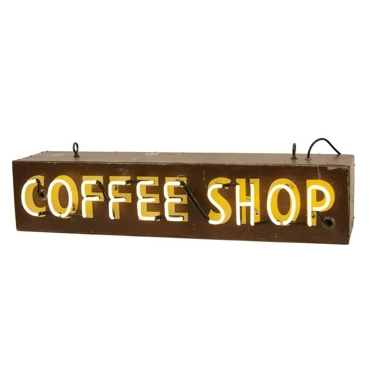 Two-Sided Neon Coffee Shop Sign, circa 1940s
