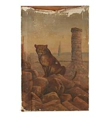 Original Oil Painting of Mountain Lion with Ripped Canvas, circa 1920s