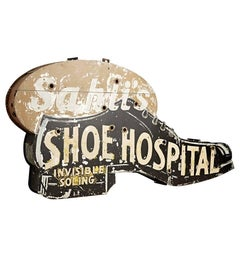 Double-Sided Shoe Hospital Sign, circa 1940s
