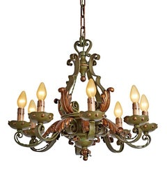 Wrought French Eight-Light Chandelier with Original Finish, circa 1920s