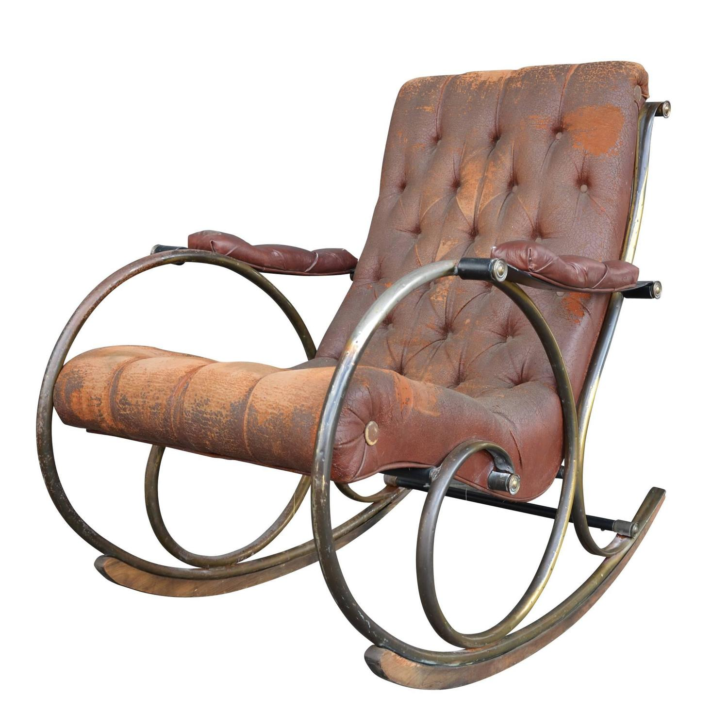 Lee Woodard Rocking Chair With Weathered Upholstery Circa 1970s At . Full resolution  pic, nominally Width 1500 Height 1500 pixels, pic with #966435.