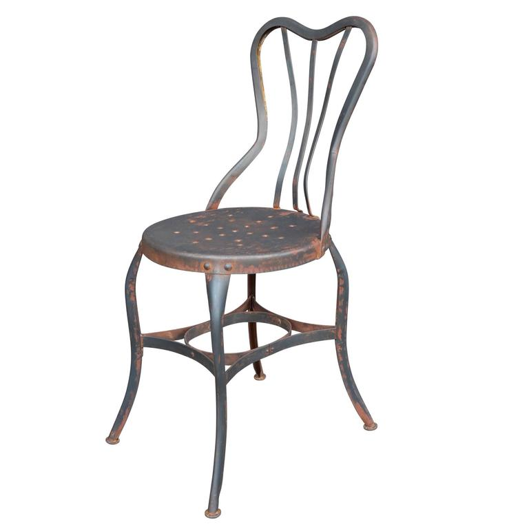 Set Of Four Raw Steel Toledo Cafe Chairs Circa 1930 At
