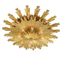 Exceptional Gilt Bronze Sunburst Flush Mount by E.F. Caldwell, circa 1904