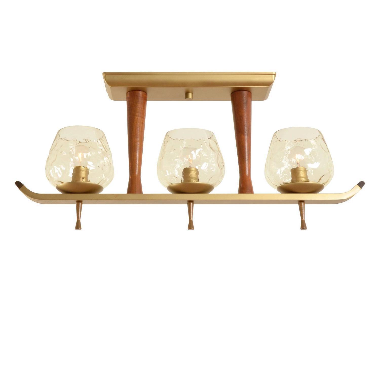 Modern Three Light Teak And Brass Toned Fixture Circa