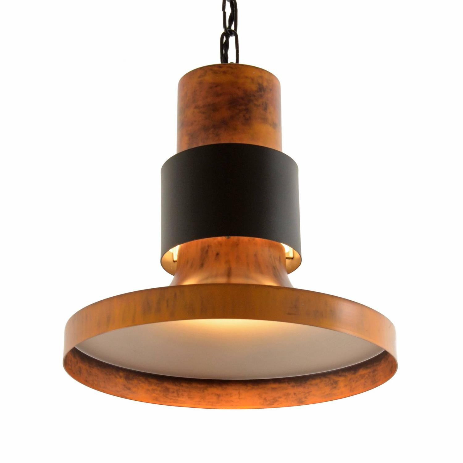 large black and copper toned lightolier commercial pendant