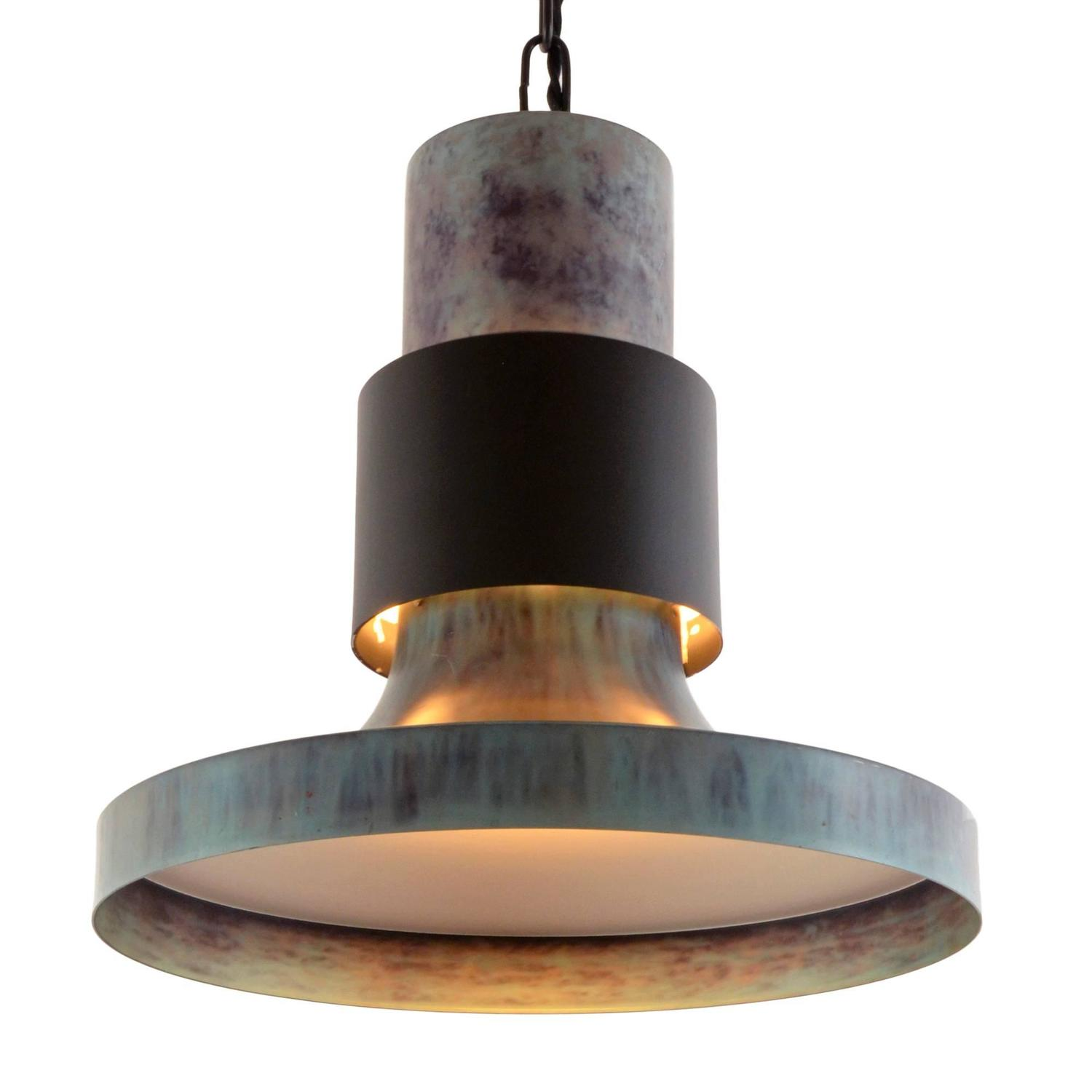 large black and blue lightolier commercial pendant circa